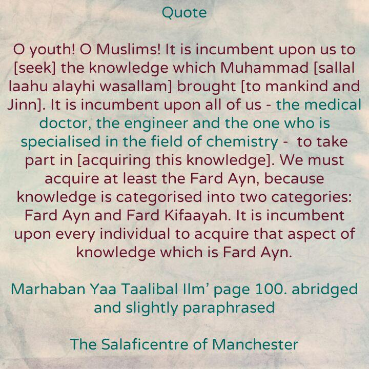 [28] Excerpts from Shaikh Rabee's Book Titled 'Marhaban Yaa Taalibal Ilm' – [Everyone Has to Seek Knowledge of The Sharee'ah, Including Doctors, Engineers etc]