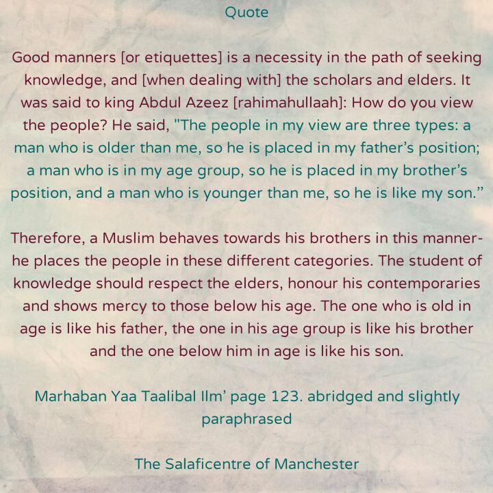 [34 A] Excerpts from Shaikh Rabee's Book Titled 'Marhaban Yaa Taalibal Ilm' – [Behaviour of a Seeker of Knowledge Towards Scholars, Elders, Contemporaries and Those Younger Than Him [or Her]