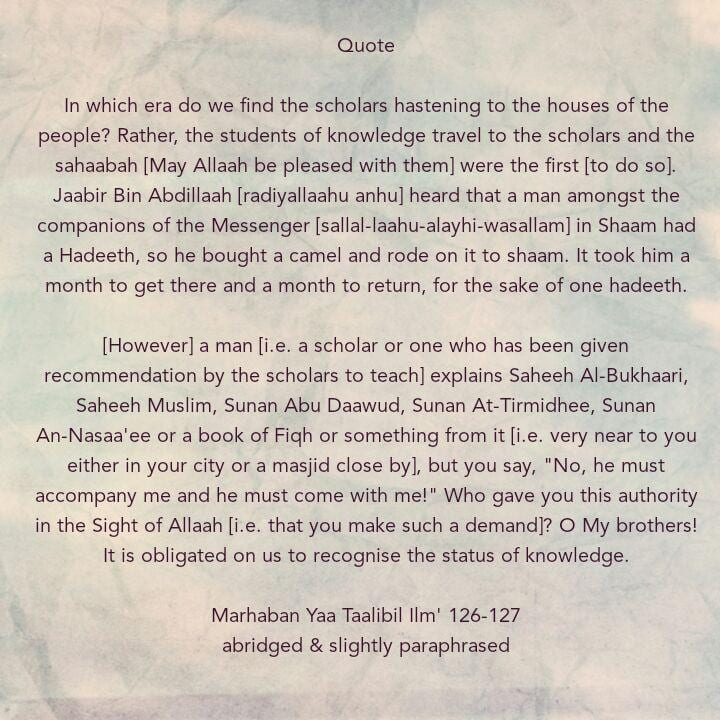 [34d] Excerpts from Shaikh Rabee's Book Titled 'Marhaban Yaa Taalibal Ilm' -[Jaabir Travelled for Two Months to Hear One Hadeeth, But You Make Demands On Those Explaining The Books of Knowledge for You]!