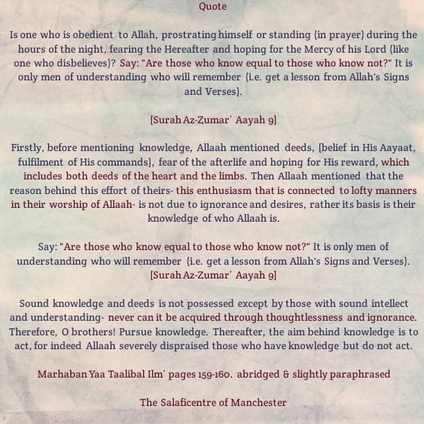 [40] Excerpts from Shaikh Rabee's Book Titled 'Marhaban Yaa Taalibal Ilm' – [Who Are The People of Sound Knowledge And Understanding?]