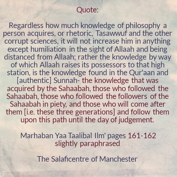 [41] Excerpts from Shaikh Rabee's Book Titled 'Marhaban Yaa Taalibal Ilm'-[The Knowledge of Tasawwuf And Other Corrupt Sciences Will Not Increase You In Anything But Humiliation In The Sight of Allaah]