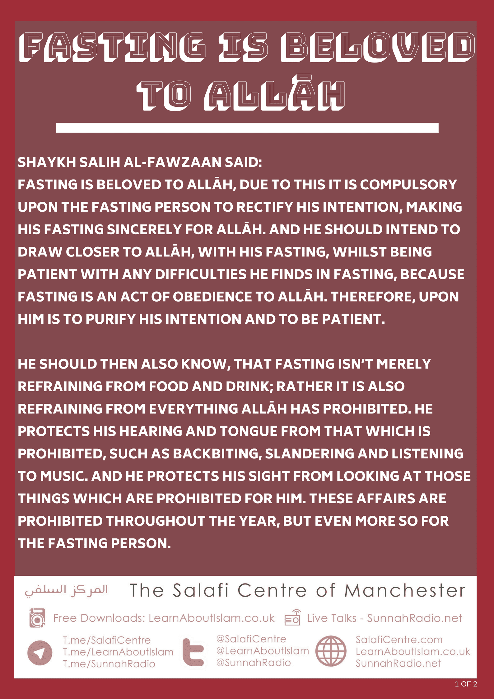 Fasting is Beloved to Allāh – Shaykh Fawzān
