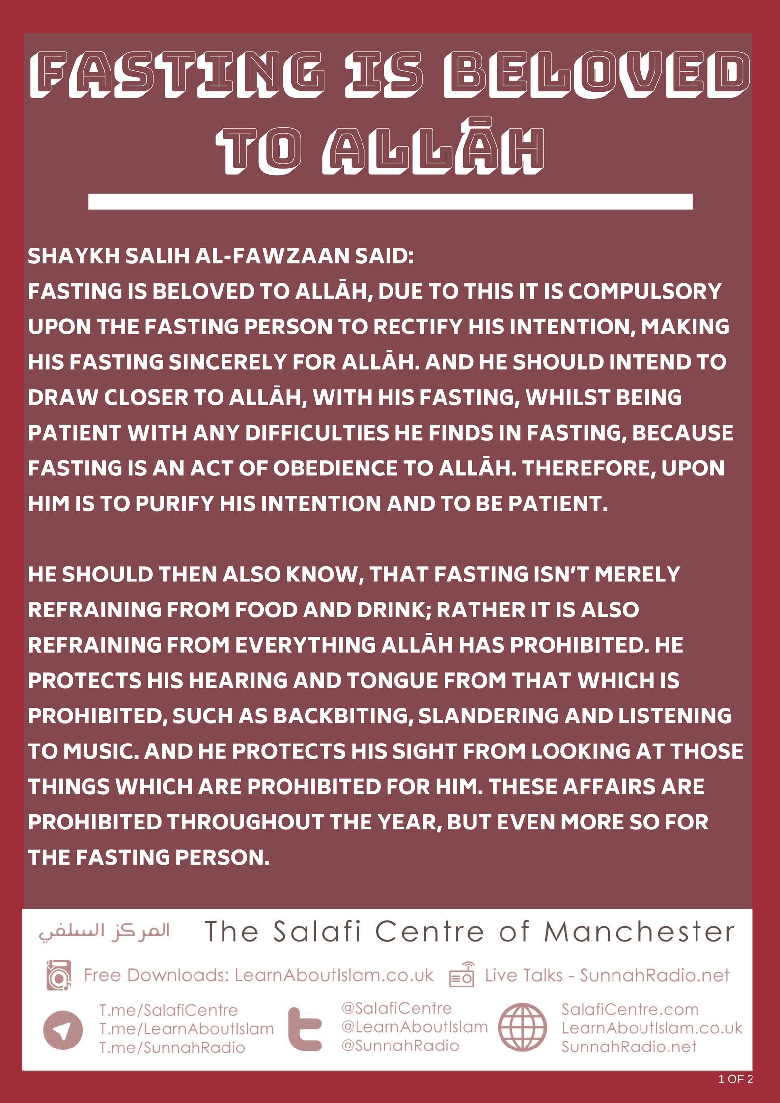 Fasting is Beloved to Allāh – Shaykh Fawzān