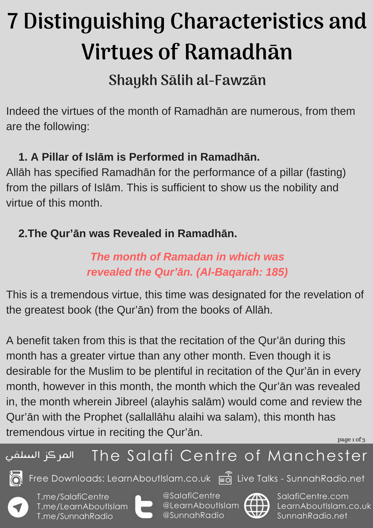 Distinguishing Characteristics and Virtues of Ramadhān – Shaykh Sālih al-Fawzān