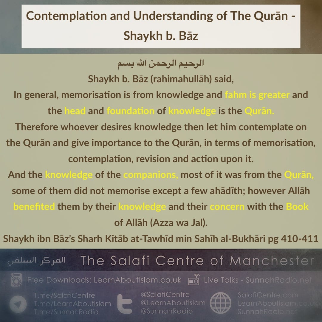 Contemplation and Understanding of The Qurān – Shaykh b. Bāz