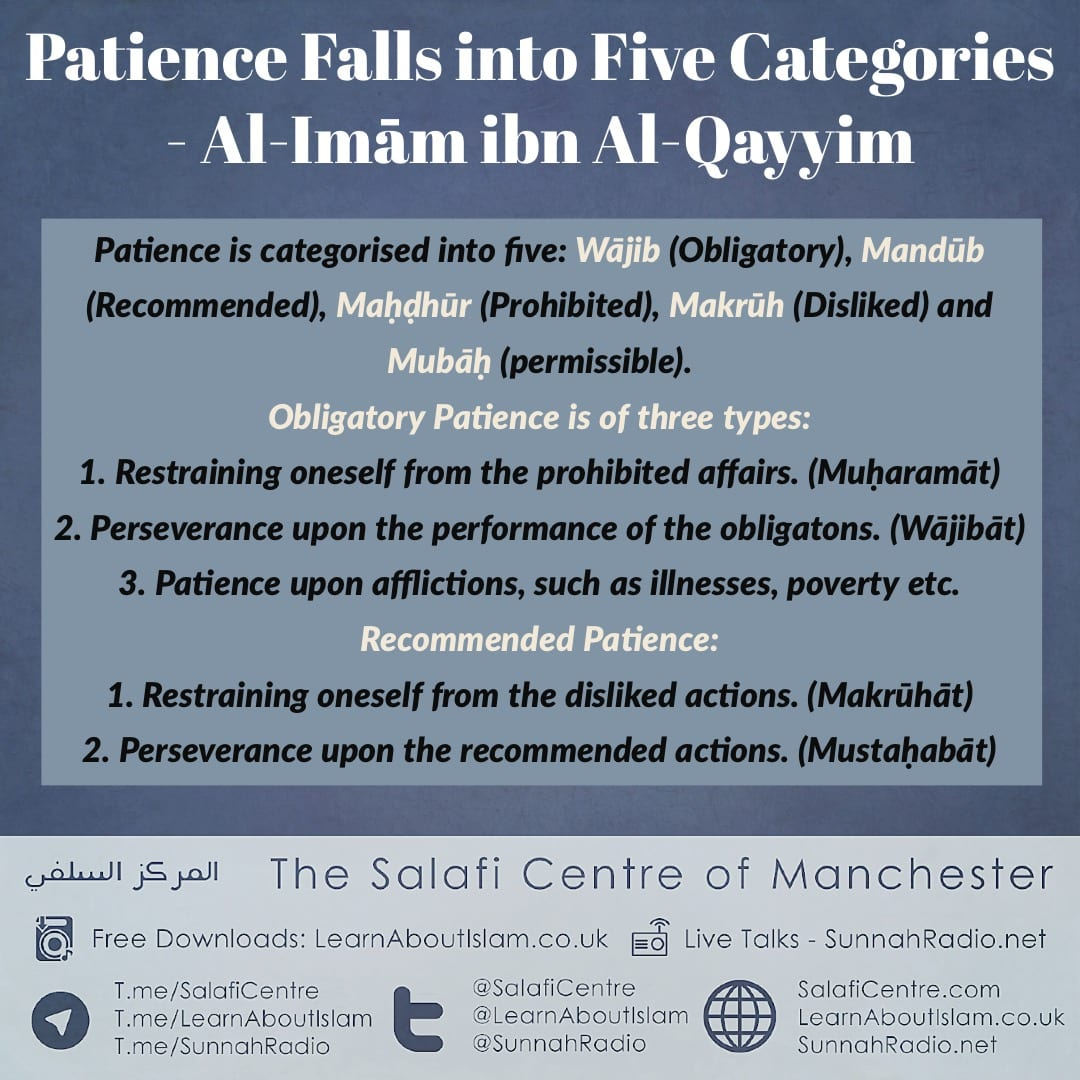 5 Categories of Patience Explained by Al-Imām Ibn al-Qayyim (rahimahullāh)