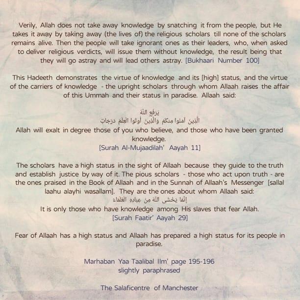 [44] Excerpts from Shaikh Rabee's Book Titled 'Marhaban Yaa Taalibal Ilm' – [A Hadeeth Regarding The Lofty Status of The Scholars]