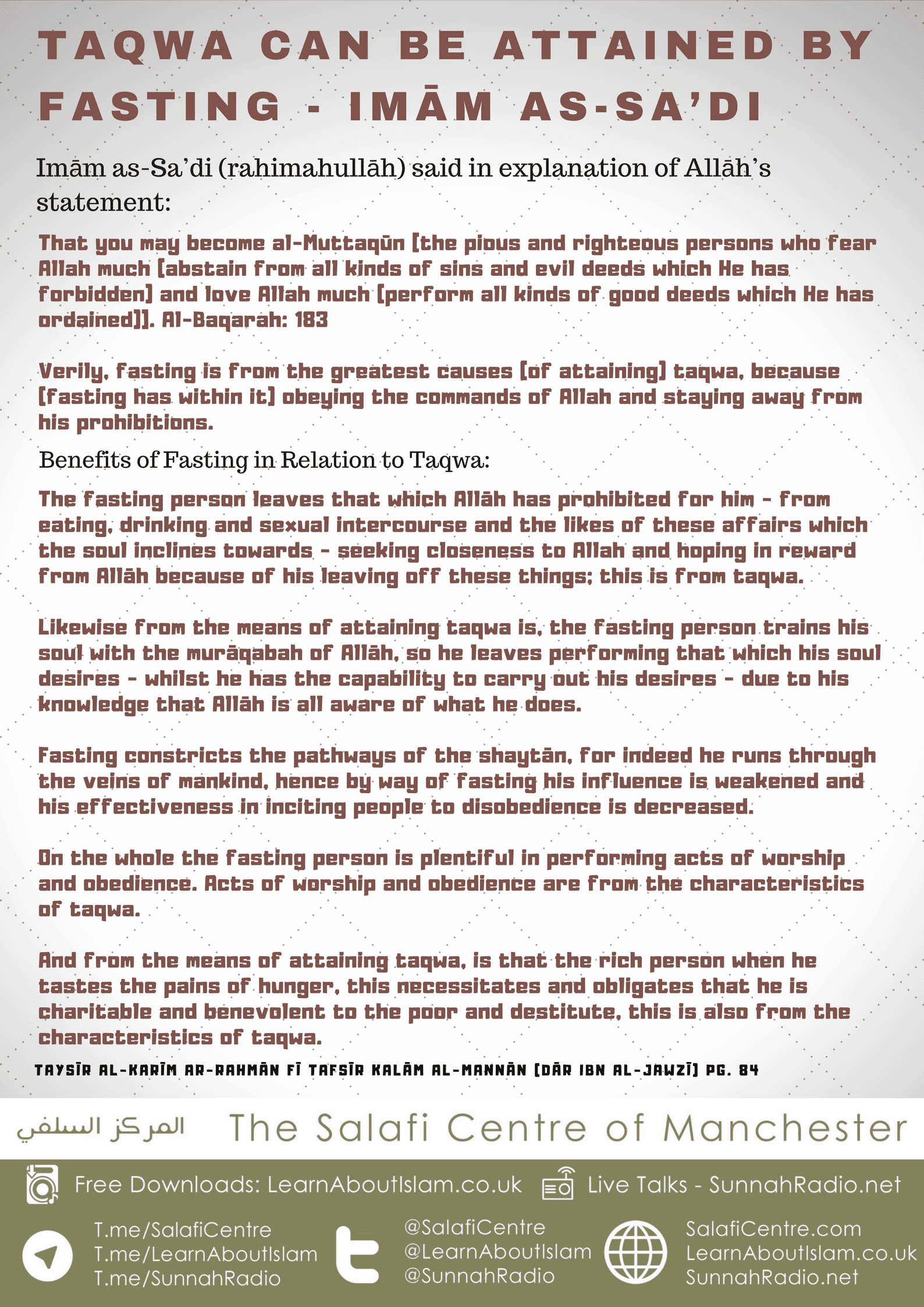 Taqwa can be Attained by Fasting – Imām as-Sa'di