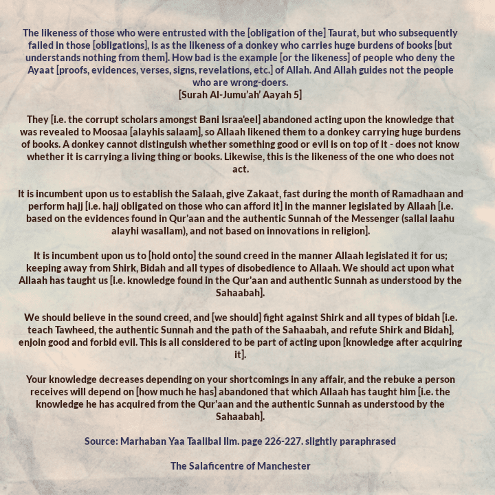[62] Excepts From Shaikh Rabee's Book Titled 'Marhaban Yaa Taalibal Ilm' – [A Similitude Regarding Those Who Abandoned Acting After Knowledge Came to Them]