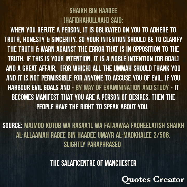 The Main Goal Behind Warning Against Error – [By Shaikh Rabee Bin Haadee]