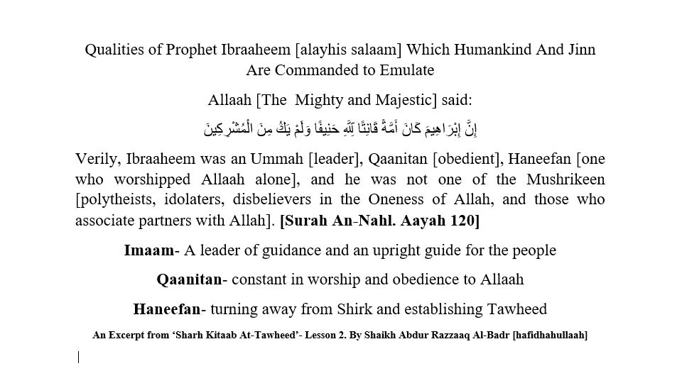 Qualities of Prophet Ibraaheem [alayhis salaam] Which We Are Commanded to Emulate