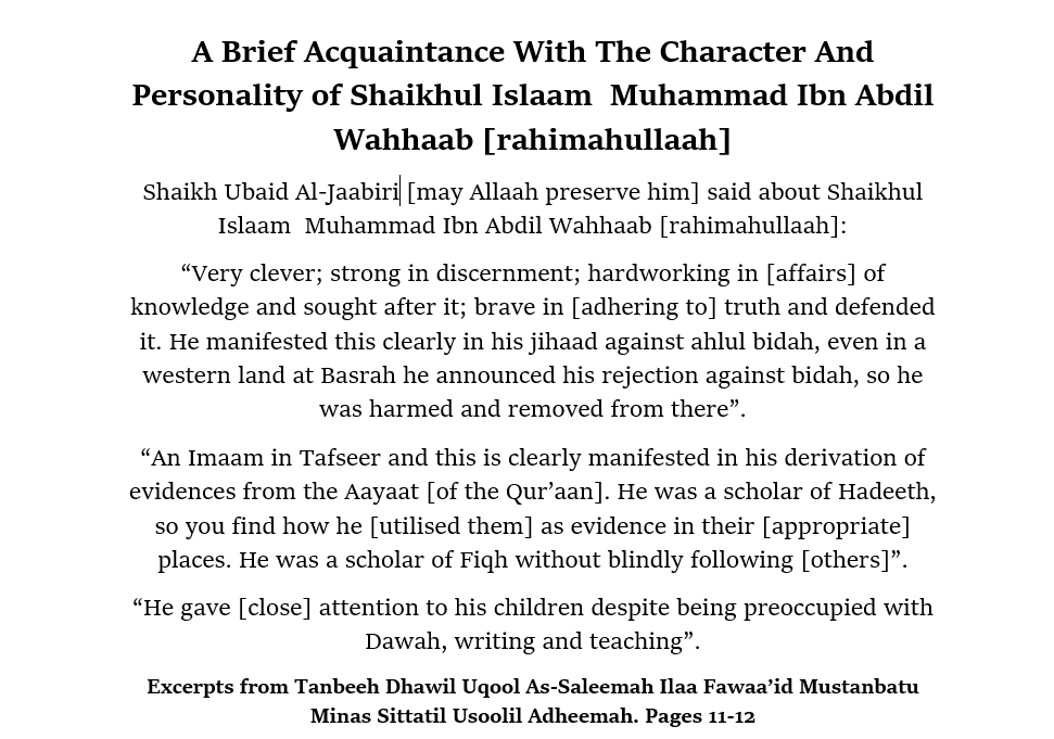 Shaikhul Islaam Muhammad Ibn Abdil Wahhaab: [A Brief Acquaintance With the Character and Personality]