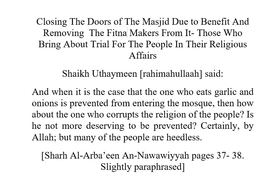 Closing The Doors of The Masjid Due to Benefit And Removing The Fitna Makers From It- Those Who Bring About Trial For The People In Their Religious Affairs