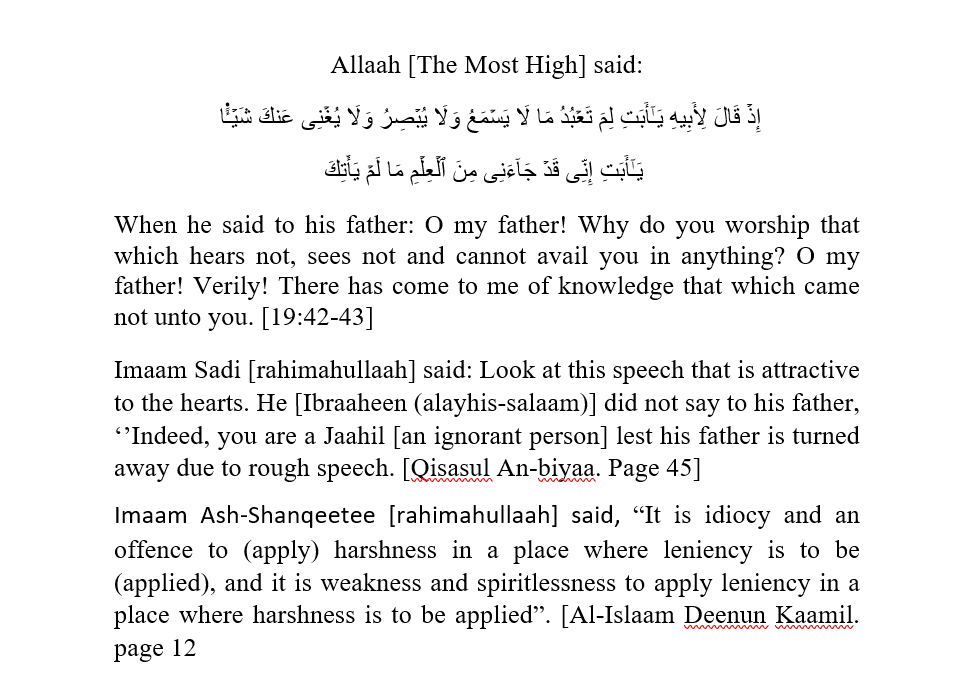 Carefully Choosing Words [In Different Circumstances] When Calling to The Truth: [Free From Flattery, Sinful Compromise, Unwarranted Harshness and Unwarranted Leniency]