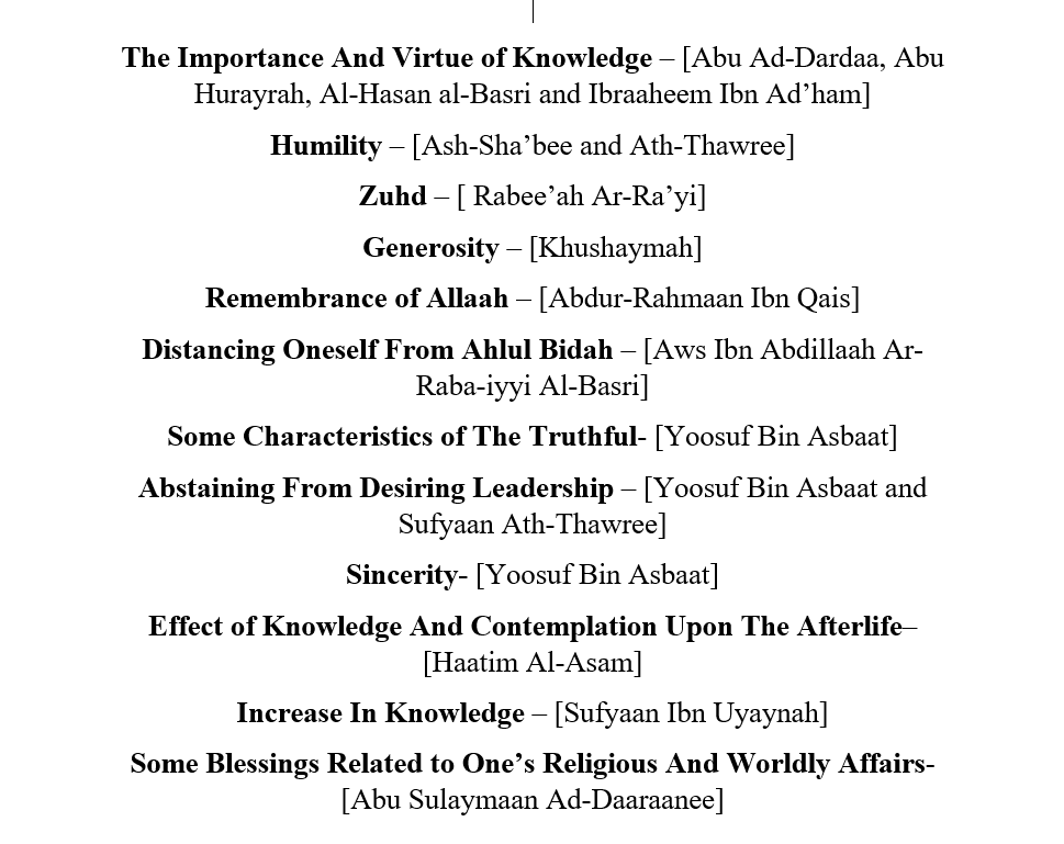 Some Statements of The Illustrious Salafus Saaleh [Pious Predecessors of] This Ummah