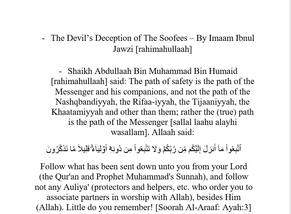 An Example of How The Devil Deceived The Innovators – [Soofees]