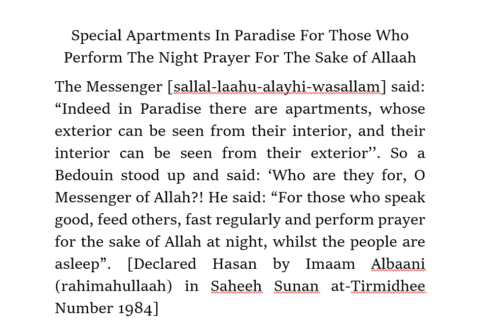 Special Apartments In Paradise For Those Who Perform The Night Prayer For The Sake of Allaah