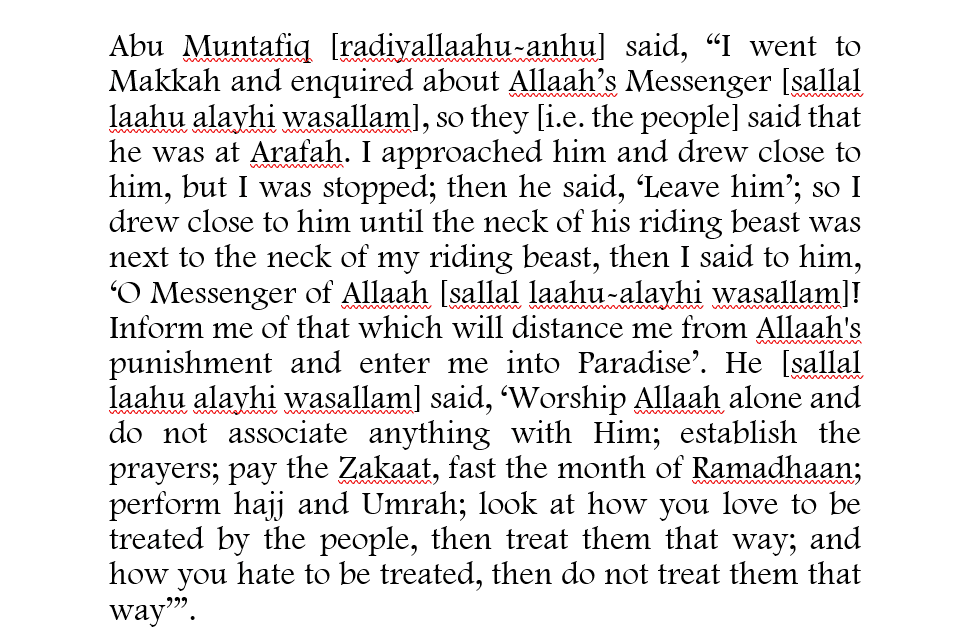 Abu Muntafiq Asked The Messenger to Direct Him to That Which Will Enter Him Into Paradise And Protect Him From The Hellfire