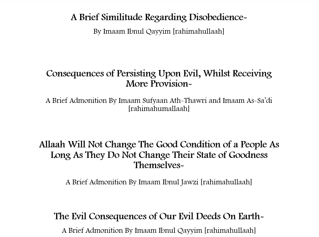 Admonition By Imaams- [Ibnul Jawzi, Sufyaan Ath-Thawri, Ibnul Qayyim and As'Sadi]i