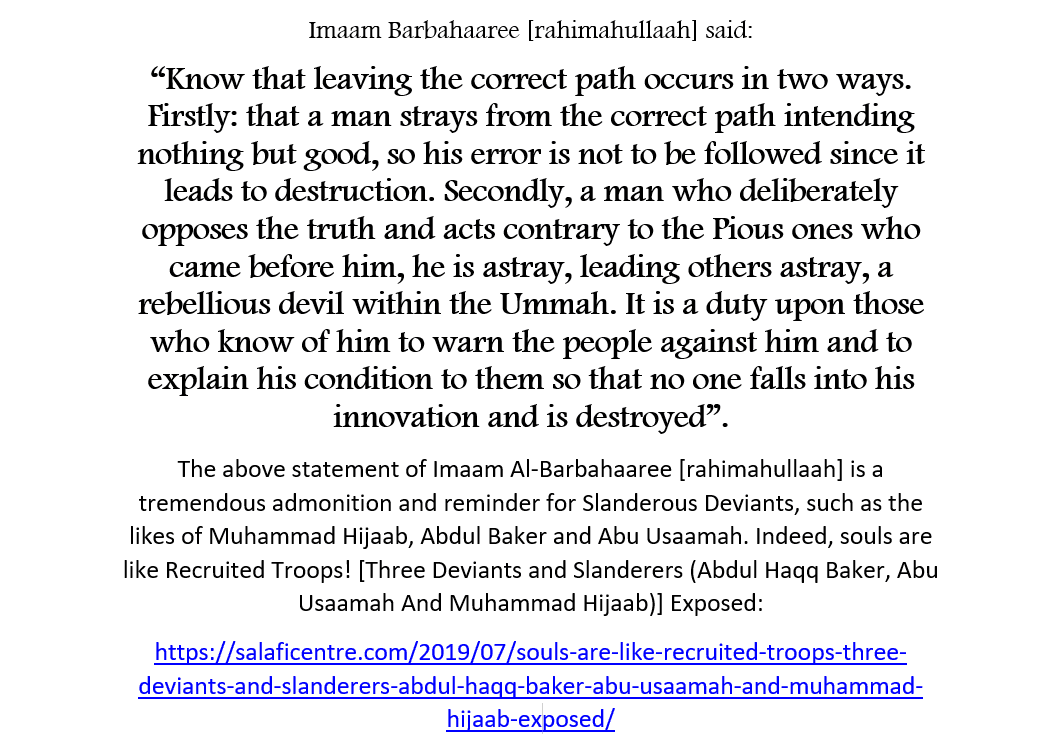 Leaving The Correct Path Occurs In Two Ways! [A Serious Reminder For Muhammad Hijaab And His Ilk]