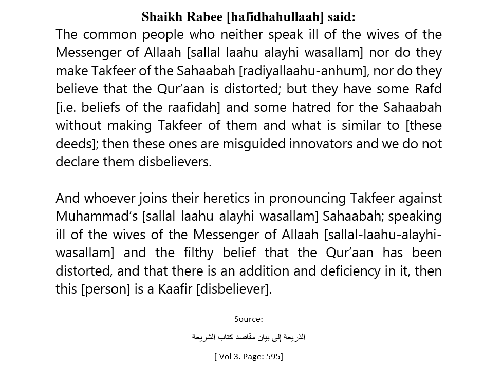The Ruling On The Raafidah – [Their Scholars And Common People]