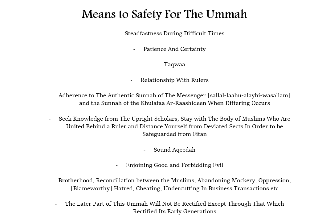 Means to Safety for The Ummah