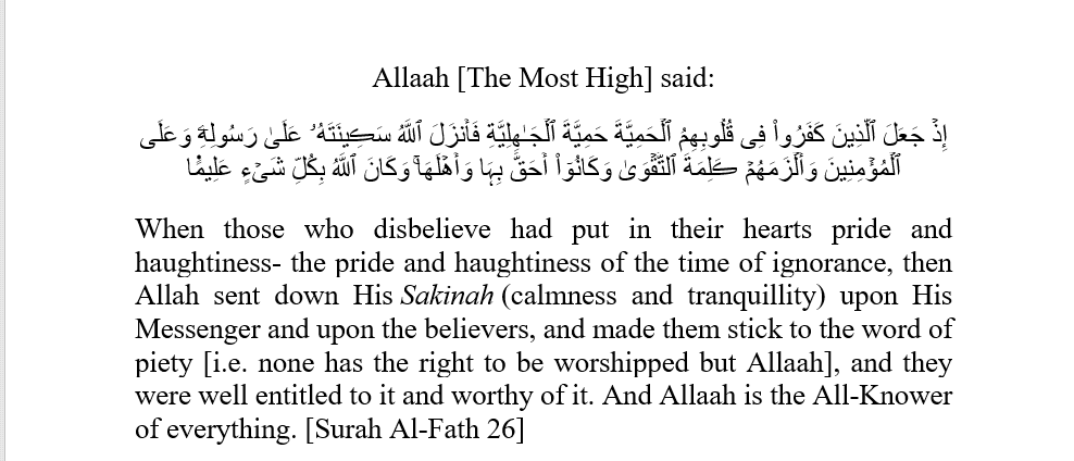 The Statement of Taqwaa
